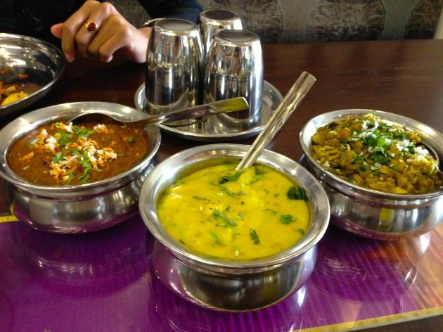 Pithla, bharli wangi, jack fruit 'salad'