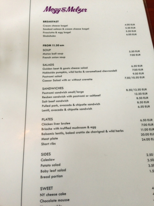 The menu at Mogg & Melzer